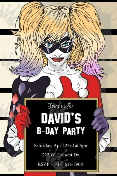 Harley Quinn Custom Digital Printable Birthday Party Invite