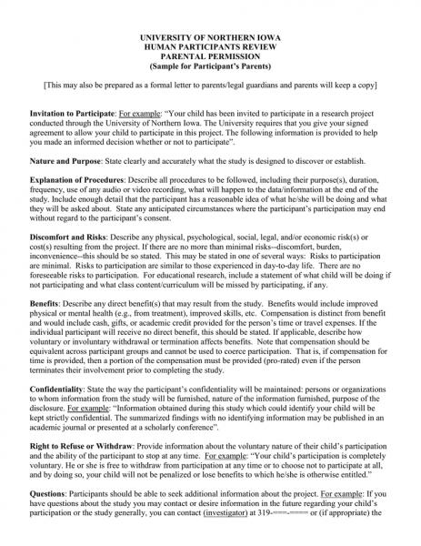 University Of Northern Iowa Human Participants Review Parental