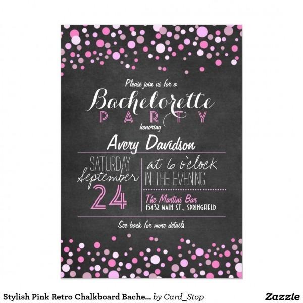 Stylish Pink Retro Chalkboard Bachelorette Party 5x7 Paper