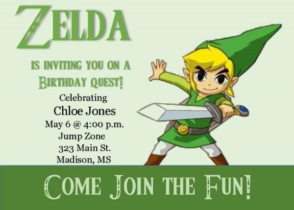 Printable Dyi Zelda Birthday Invitation (digital File) By
