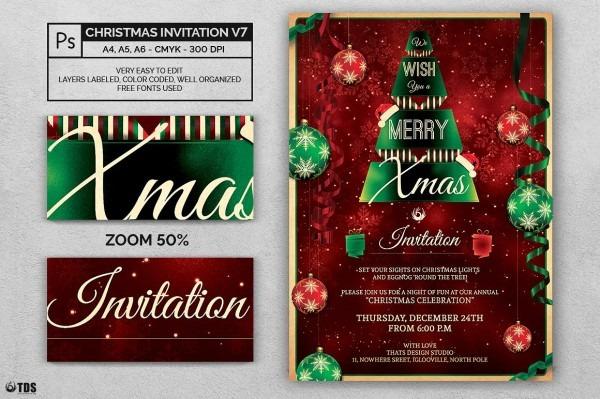 Christmas Invitation Template Psd V 7