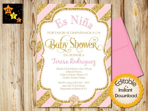 Spanish Baby Shower Invitation, Girl, Pink And Gold Diagonal