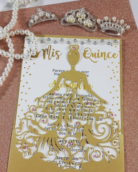 Laser Cut Dress Quinceanera Invitations  Also Can Be Used For