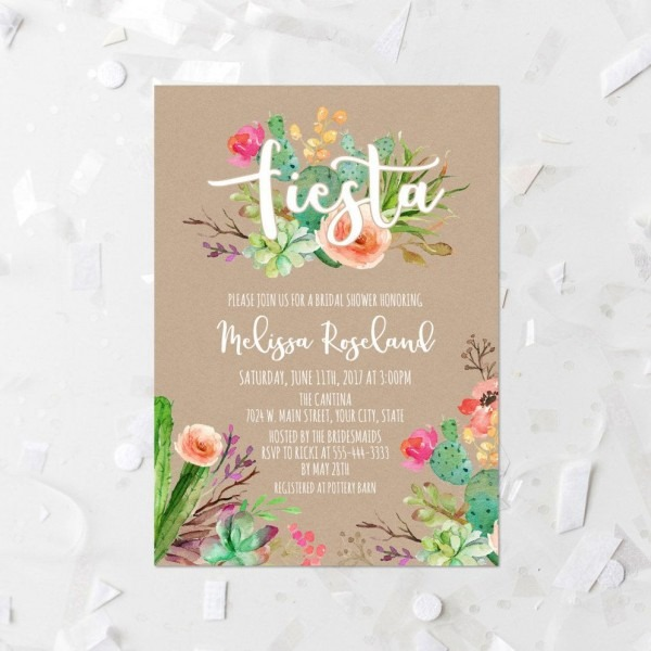 Fiesta Bridal Shower Invitation Printable Succulent Bridal Shower