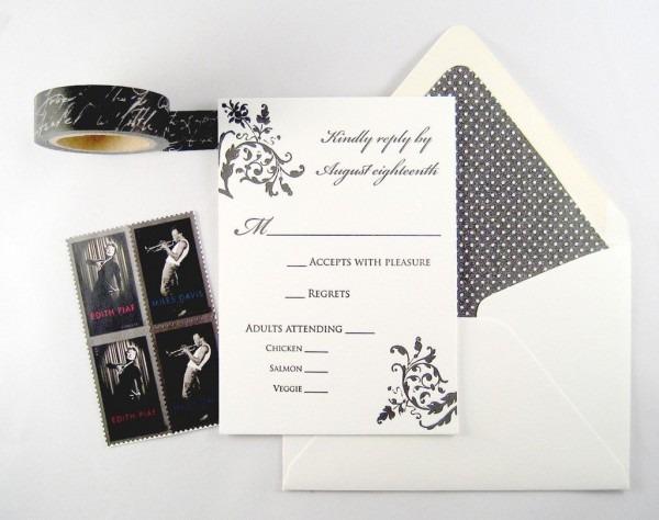 Letterpress Printed Wedding Invitation Featuring Damask Scrolls On