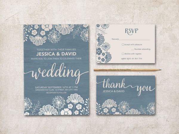 Dusty Blue Wedding Invitation Rustic Wedding Invitation Printable