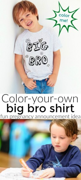 Color Your Own New Big Bro Shirt  Perfect For A Pregnancy Or