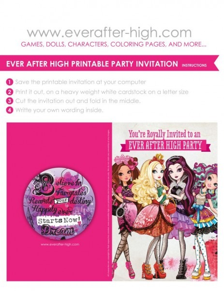 Free Printable For An Ever After High Birthday Party Invitation