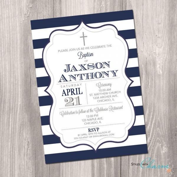 Baptism Invitation, First Communion Invitation, Boy Baptism