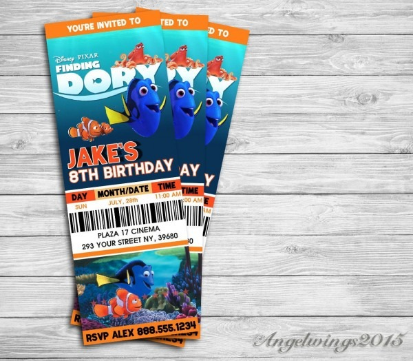 Finding Dory Invitation, Finding Dory Birthday Party, Finding Nemo