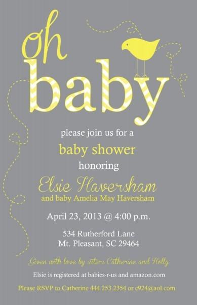 Yellow And Gray Neutral Baby Shower Chevron Invitation