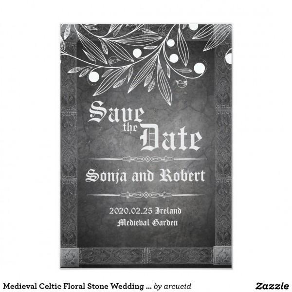 Medieval Celtic Floral Stone Wedding Invitation