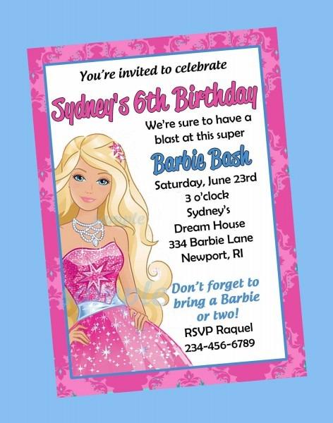 Free Print Barbie Invitations