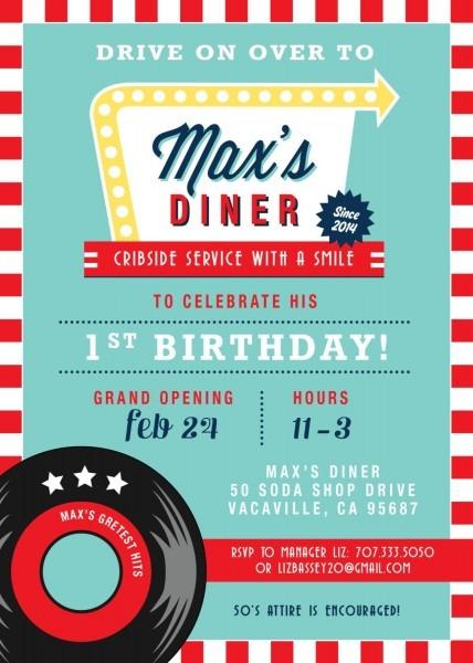 Soda Shop Retro 50s Diner Birthday Invitation