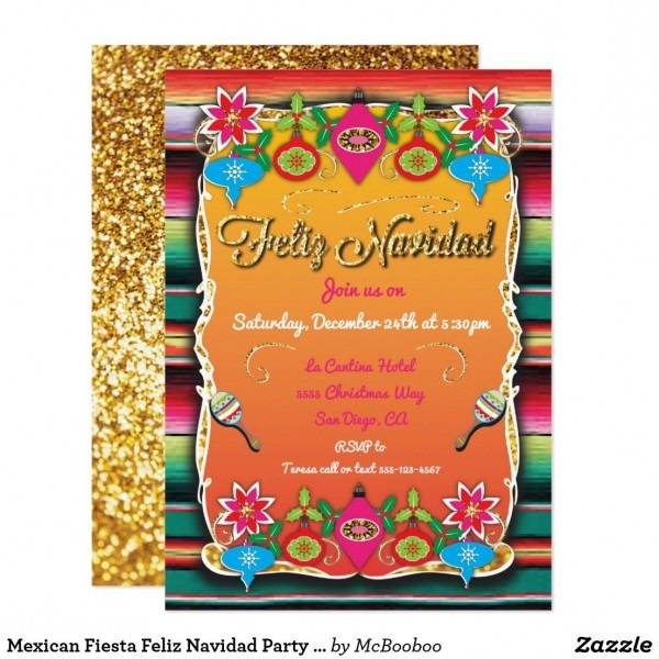 Mexican Fiesta Feliz Navidad Party Gold Glitter Invitation