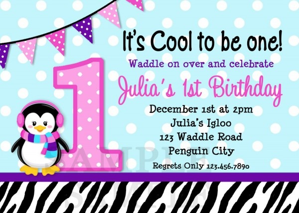 Penguin 1st Birthday Invitation Penguin Birthday Party Invites