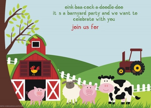 Free Printable Farm Animals Birthday Invitation Template