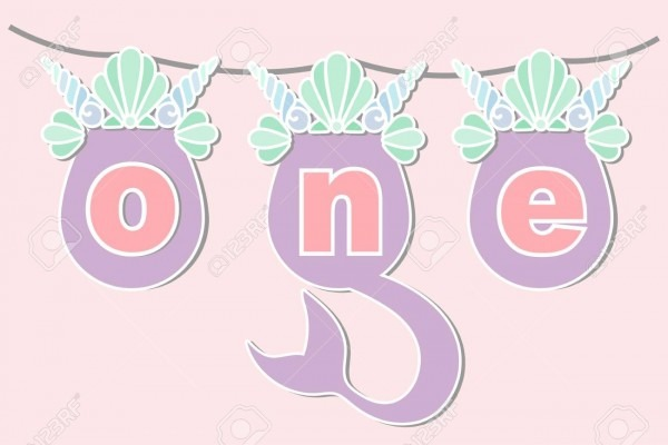 Vector Illustration One With Mermaid Tail, Sea Shell Crown