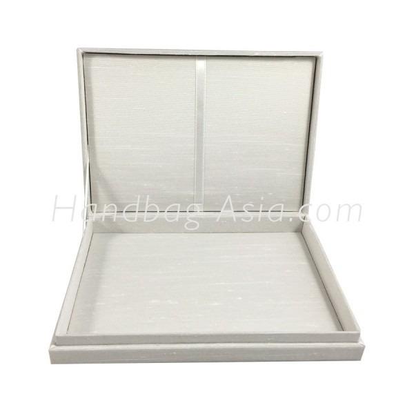 Off White Plain Silk Wedding Invitation Box With Hinged Lid