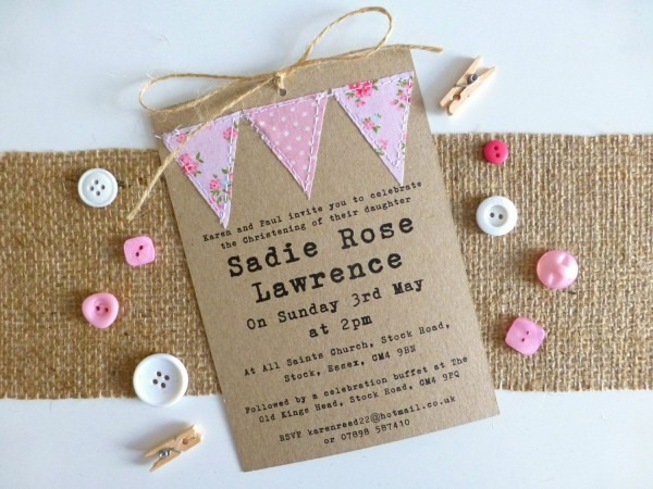 Handmade Christening Invitation
