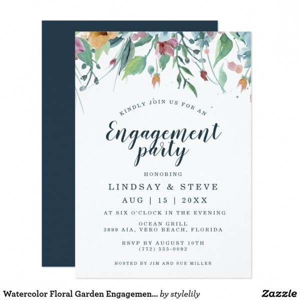 Watercolor Floral Garden Engagement Party Invitation In 2018