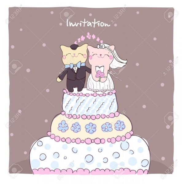 Wedding Invitation Card With Cake Topper Cute Cats Royalty Free