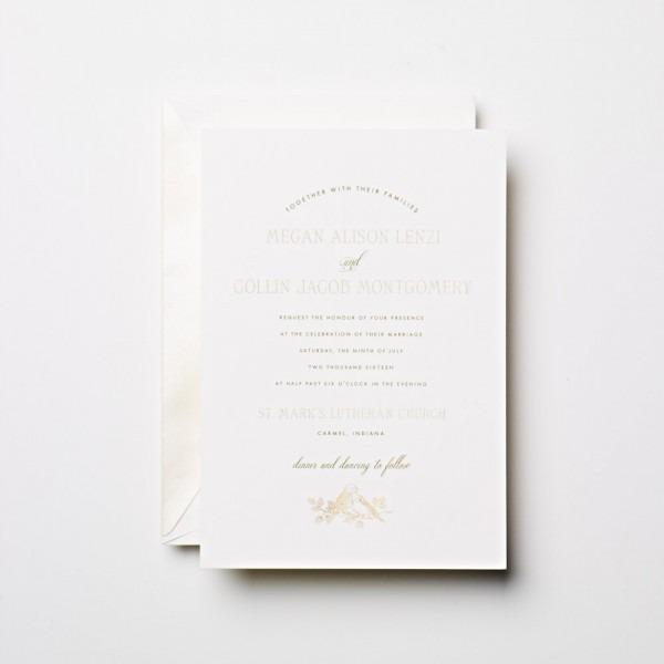 Crane Wedding Invitation With Bird And Branch Motif