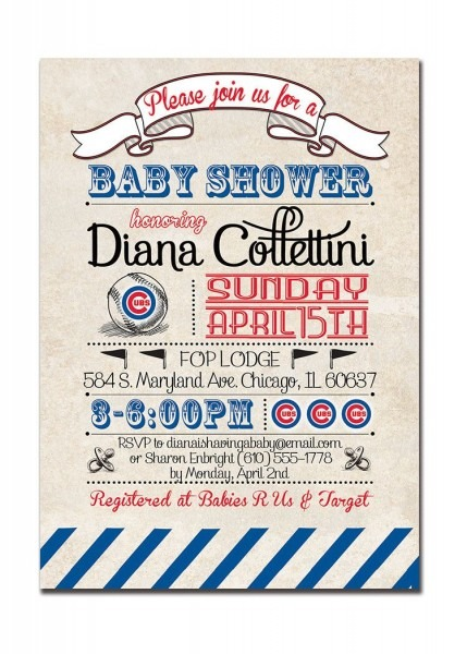 Chicago Cubs Baby Shower Invitation Baseball By Digibuddhapaperie