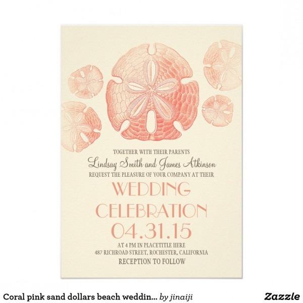 Coral Pink Sand Dollars Beach Wedding Invites In 2018