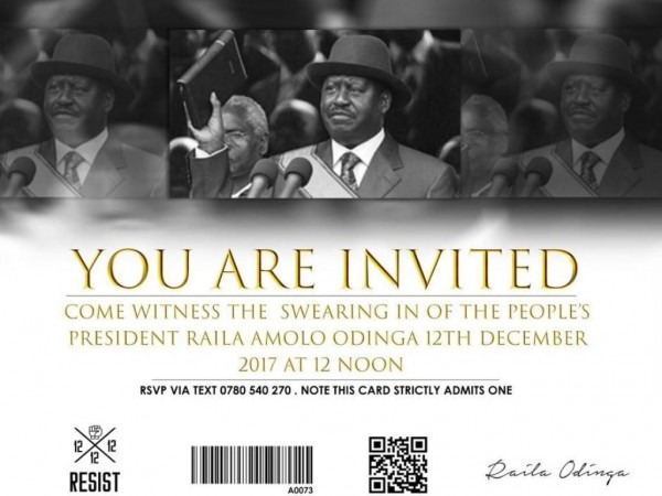 Raila Sends Invitation Cards For December 12 Swearing In
