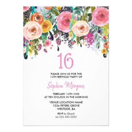 16th Birthday Invitations Painted Floral Girls 16th Birthday