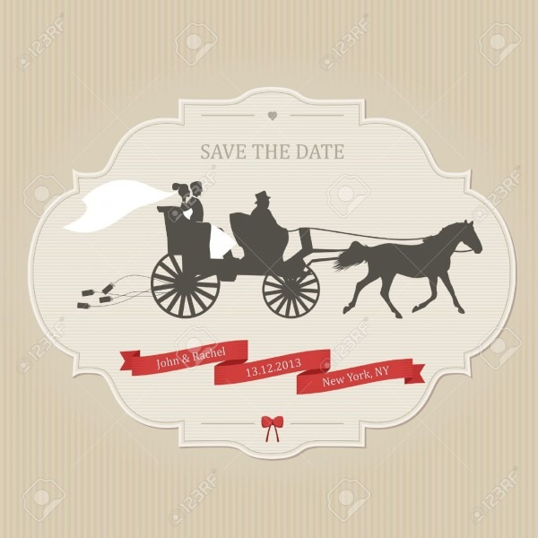 Funny Wedding Invitation With Retro Carriage Dragging Cans Royalty
