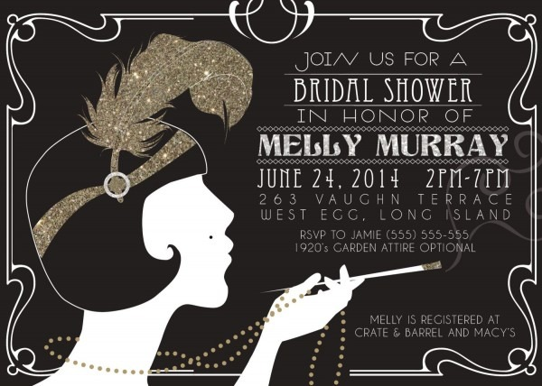 1920's Gatsby Flapper Bridal Shower Invitations By Mrsinvitation