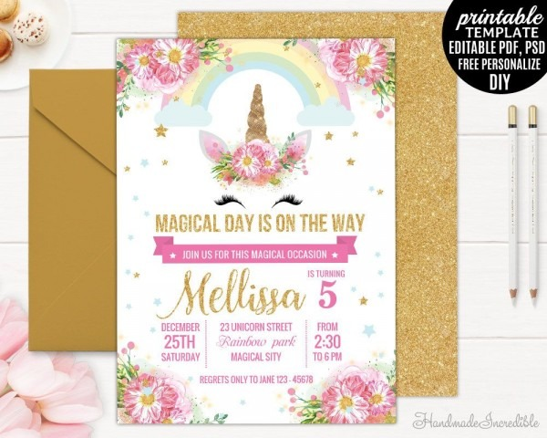 Unicorn Face Birthday Invitation Template  Printable Blush Pink
