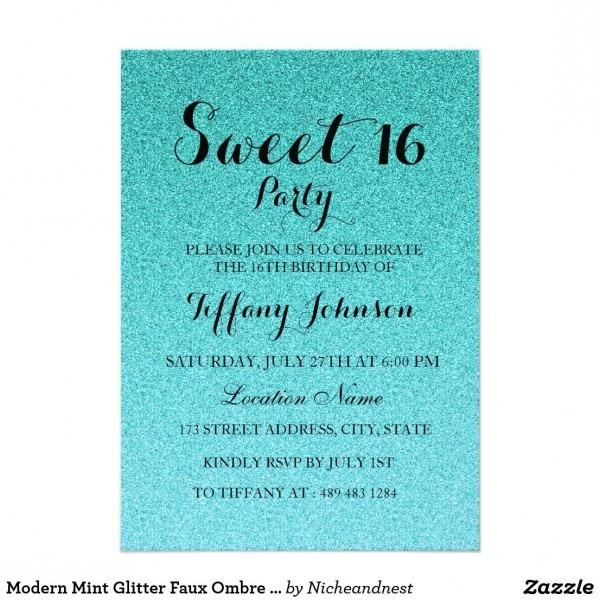 Modern Mint Glitter Faux Ombre Sweet 16 Invitation