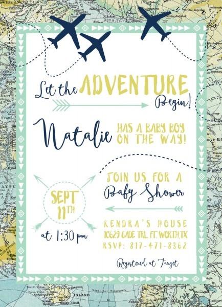 Adventure Maps Baby Shower Invitation, Airplanes & Travel Theme