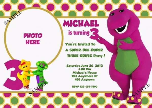 Barney Invitations Birthday Party