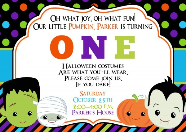 1st Birthday Halloween Invitations — Birthday Invitation Examples