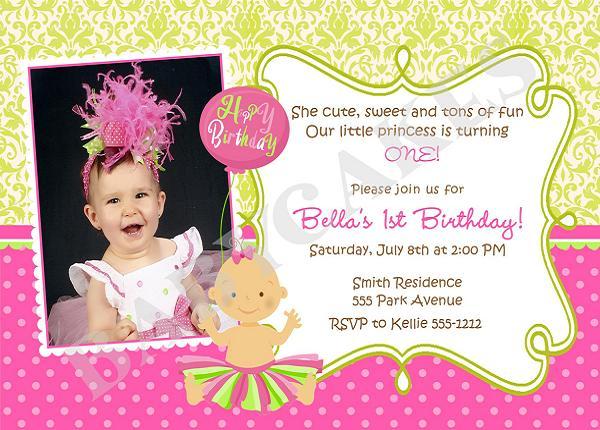 Invitation  1st Birthday Invitation Message Samples
