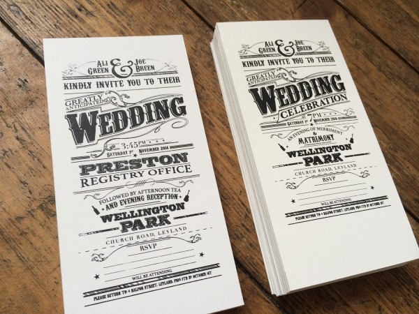 Screen Printed Victorian Style Wedding Invitations