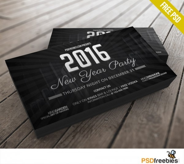 2016 New Years Party Invitation Card Free Psd – Uxfree Com