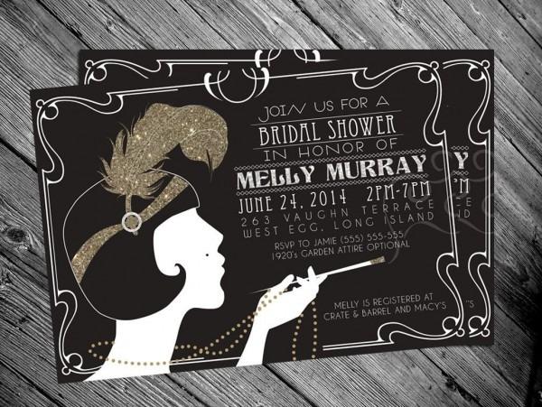 1920's Gatsby Flapper Bridal Shower Invitation By Mrsinvitation