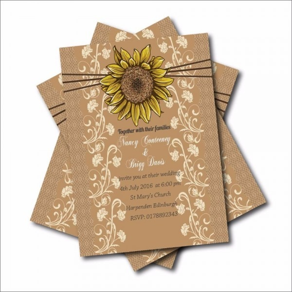 Rustic Country Sunflower Wedding Invitations Lace Bridal Shower