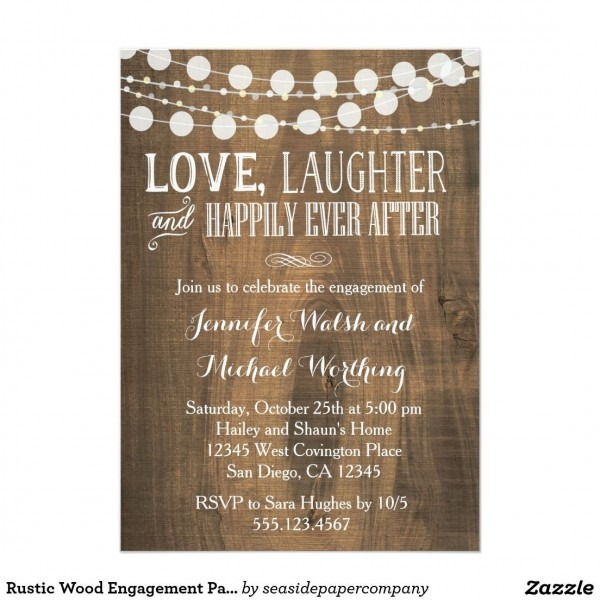 Rustic Wood Engagement Party Invitation In 2018