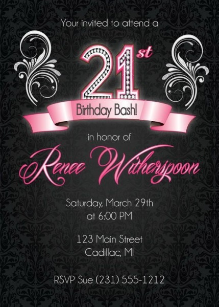 21st Birthday Invitations For Her Marvelous With 21st Birthday