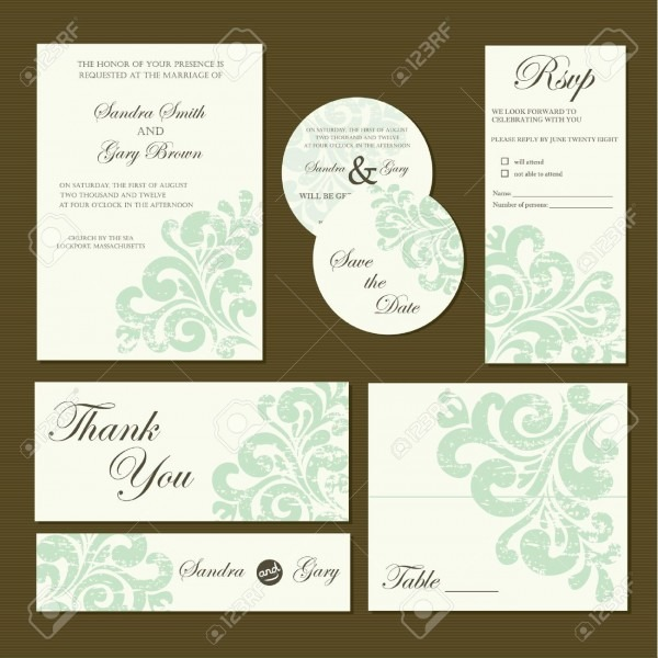 Set Of Wedding Invitation Cards Invitation, Thank You Card
