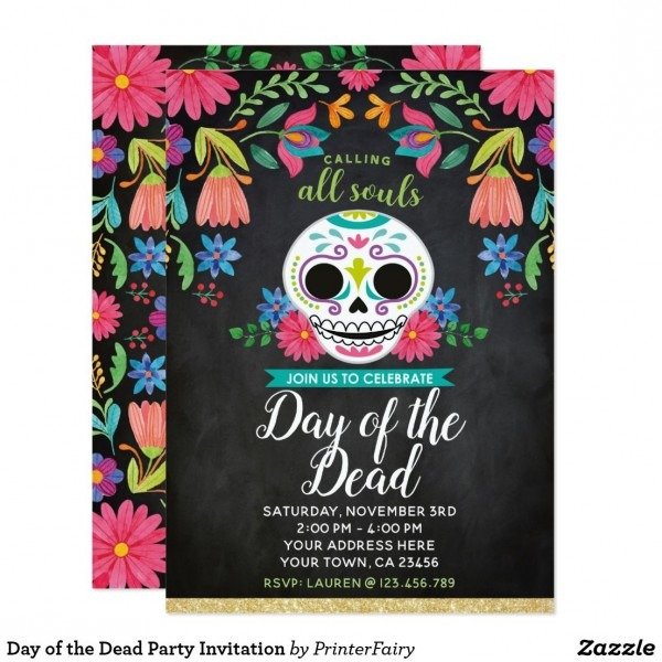Day Of The Dead Party Invitation In 2018