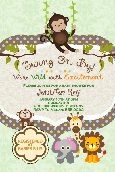 Blank Baby Shower Invitations Jungle