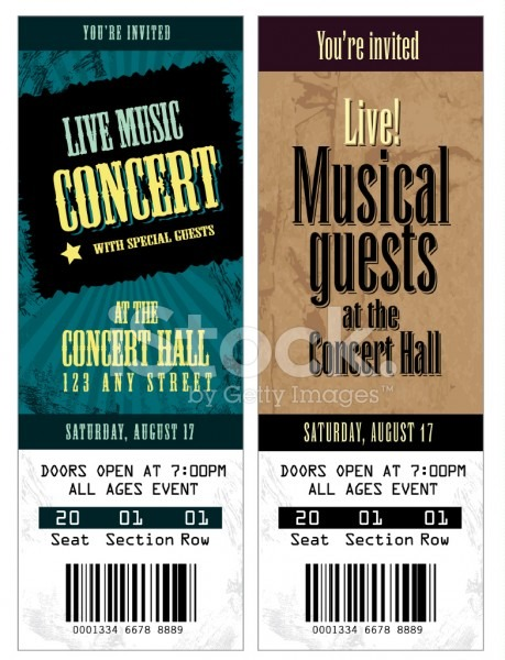 Set Of Cool Concert Tickets Template Stock Vector