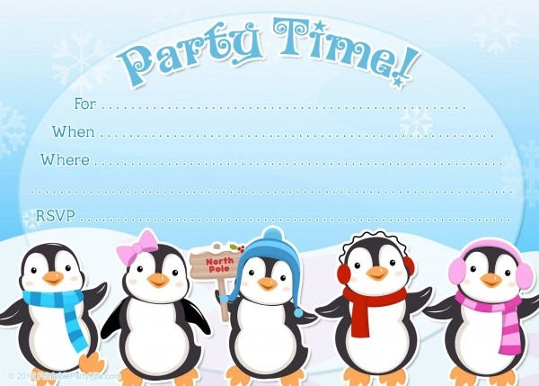Free Printable Penguin Winter Or Holiday Invitation Template From